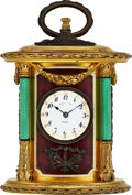 Timepieces:Clocks, Tiffany & Co., Small Decorative Enameled Quarter Hour Repeating Clock, circa 1900. ...