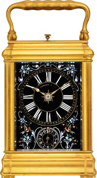 Tiffany & Co., Very Fine Limoges Enamel & Brass Carriage Clock, Grande Sonnerie, Repeat & Alarm, circa 1890'...