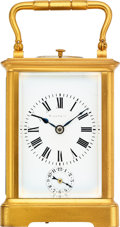 Timepieces:Clocks, Tiffany & Co., Carriage Clock With Strike, Repeat & Alarm, circa 1900. ...