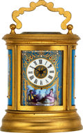 Timepieces:Clocks, French, Miniature Decorative Oval Clock, circa 1890's. ...