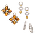 Estate Jewelry:Earrings, Diamond, Colored Diamond, Citrine, White Gold Jewelry . ... (Total:3 Items)
