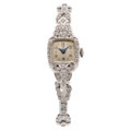 Estate Jewelry:Watches, Omega Lady's Diamond, Platinum Watch. ...