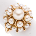 Estate Jewelry:Rings, Cultured Pearl, Gold Ring, Mikimoto. ...