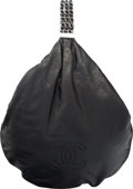 """Luxury Accessories:Bags, Chanel Black Aged Calfskin Leather Hobo Bag with Silver Hardware. Condition: 1. 12"""" Width x 12"""" Height x 12"""" Depth. ..."""