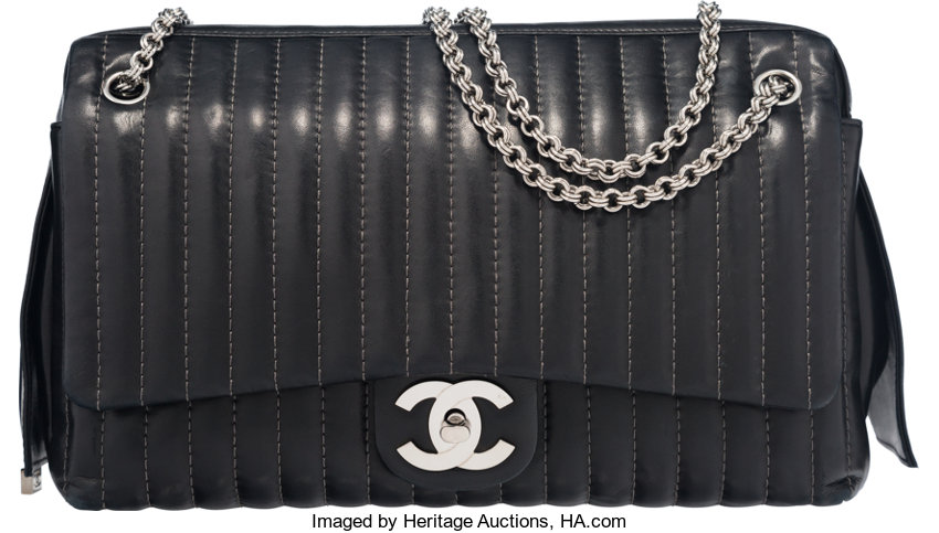 ed00d967c8df Luxury Accessories:Bags, Chanel Black Lambskin Mademoiselle Maxi Flap  Camera Bag with SilverHardware.