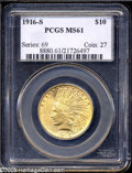 Indian Eagles: , 1916-S $10 MS61 PCGS. ...
