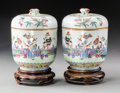 Ceramics & Porcelain, A Pair of Chinese Famille Rose Enameled Porcelain Jars and Covers, late Qing Dynasty-Republic period. Marks: (red six-charac... (Total: 2 Items)