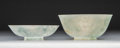 Carvings, A Chinese Jadeite Bowl with Lid, Qing Dynasty. 3-1/8 x 4-3/8 inches (7.9 x 11.1 cm). ...
