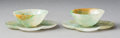 Decorative Accessories, A Pair of Chinese Jadeite of Wine Cups and Quatrefoil Saucers, late Qing Dynasty. 1 x 3-3/4 inches (2.5 x 9.5 cm) (each). ... (Total: 2 Items)