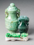 Carvings, A Group of Three Chinese Jadeite Carvings, 20th century. 9-1/4 x 2 inches (23.5 x 5.1 cm) (largest, lidded vase). ... (Total: 3 Items)