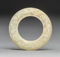Carvings, A Chinese White Jade Bi Disc in Original Fitted Box, Ming Dynasty . 2-3/8 inches (6.0 cm). ...