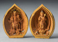 Carvings, A Japanese Partial Gilt and Polychrome Wooden Leaf-Form Palm Shrine, circa 1900. 2-1/2 x 1-3/4 x 1-1/8 inches (6.4 x 4.4 x 2...