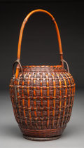 Other, A Japanese Bamboo Ikebana Basket. Marks: (three character signature mark). 16-3/8 x 8-3/4 inches (41.5 x 22.2 cm). ...
