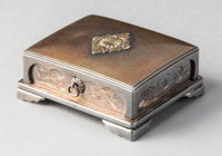 A Miyamoto Shoko Silver Presentation Box with Applied Imperial Mon and Engraved Cranes, Tokyo, early 20th century