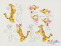 "animation art:Model Sheet, Winnie the Pooh ""Tigger Model Sheet"" Illustration by Ron Campbell (Walt Disney, c. 2000s)...."