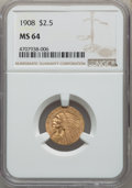 Indian Quarter Eagles: , 1908 $2 1/2 MS64 NGC. NGC Census: (1313/426). PCGS Population: (1482/693). CDN: $825 Whsle. Bid for problem-free NGC/PCGS M...