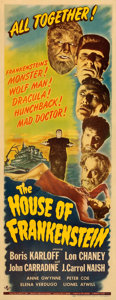 "Movie Posters:Horror, House of Frankenstein (Universal, 1944). Fine+ on Paper. Insert (14"" X 36"").. ..."