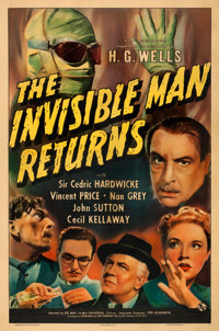 """The Invisible Man Returns (Universal, 1940). Good on Linen. One Sheet (27"""" X 41"""")"""