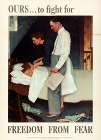 """Norman Rockwell World War II Propaganda (U.S. Government Printing Office, 1943). Very Fine- on Linen. OWI """"Four Fre..."""