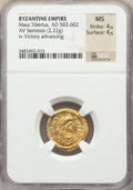 Ancients:Byzantine, Ancients: Maurice Tiberius (AD 582-602). AV semissis (19mm, 2.22gm, 7h). NGC MS 4/5 - 4/5....