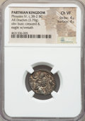 Ancients:Oriental, Ancients: PARTHIAN KINGDOM. Phraates IV (ca. 38-2 BC). AR drachm (20mm, 3.79 gm, 11h). NGC Choice VF 4/5 - 4/5. ...