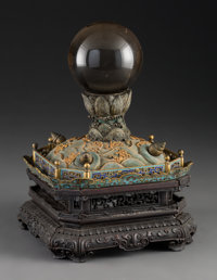 An Unusual Chinese Crystal Ball on Cloisonné and Hardwood Stand, Qing Dynasty, 18th century and later 10-1/2 x 7-...