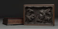 Carvings, A Japanese Carved and Silver Wire-Inset Hardwood Box, 19th century. 3-3/8 x 10-3/8 x 7 inches (8.6 x 26.4 x 17.8 cm). ...