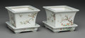 , A Pair of Chinese Export Enameled Porcelain Jardinières withUnderplates, Republic period. Marks: (apocryphal four-character...(Total: 2 Items)