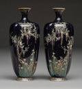 Metalwork, A Pair of Japanese Cloisonné Vases, Meiji-Taisho period. Marks: (Fuji marks) . 7-3/8 x 3-1/4 inches (18.7 x 8.3 cm) (each). ... (Total: 2 Items)