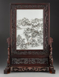 Ceramics & Porcelain, A Chinese Grisaille Enameled Porcelain and Hardwood Table Screen, Republic period. 25-1/2 x 18-1/2 x 8 inches (64.8 x 47.0 x...