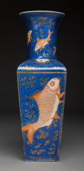 Ceramics & Porcelain, A Chinese Cornered Liuyeping Vase, Qing Dynasty, Kangxi period. Marks: (six-character Kangxi seal). 18-1/4 x 6 inches (46.4 ...