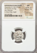 Ancients:Greek, Ancients: MACEDONIAN KINGDOM. Alexander III the Great (336-323 BC).AR drachm (17mm, 4.32 gm, 10h). NGC MS 4/5 - 4/5, flan flaw....