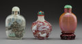 Decorative Accessories:Chinese, A Group of Three Chinese Mixed Media Snuff Bottles. 3-1/4 inches (8.3 cm) (tallest). ... (Total: 3 Items)