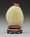 Carvings:Chinese, A Chinese Hardstone Snuff Bottle with Carved Amber Frog Stopper . 3-1/8 inches (7.9 cm). ...