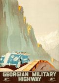 """Movie Posters:Miscellaneous, Georgian Military Highway (USSR: Intourist, 1939). Fine+ on Linen. Full-Bleed Russian Travel Poster (27"""" X 38.75"""") Alexander..."""