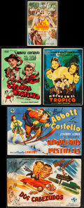 """Movie Posters:Comedy, One Night in the Tropics & Other Lot (Universal, 1940) Very Fine-. Spanish Heralds (5) (3.25"""" X 5"""" - 8.25"""" X 5.25""""). MCP (Ra... (Total: 5 Items)"""