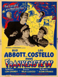 "Movie Posters:Horror, Abbott and Costello Meet Frankenstein (Universal International, 1948). Fine+. Silk Screen Poster (30"" X 40"") Style Z.. ..."