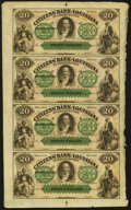 Obsoletes By State:Louisiana, New Orleans, LA- Citizens' Bank of Louisiana $20-$20-$20-$20 18__ Uncut Sheet Choice Crisp Uncirculated.. ...