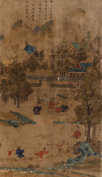 Eight Korean Painted Screen Panels Depicting Boys at Play, Joseon Dynasty 24 x 14 inches (61.0 x 35.6 cm)