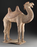 Ceramics & Porcelain, A Large Chinese Painted Pottery Bactrian Camel Figure, Tang Dynasty. 24-1/2 x 18-1/2 x 8 inches (62.2 x 47.0 x 20.3 cm). P...