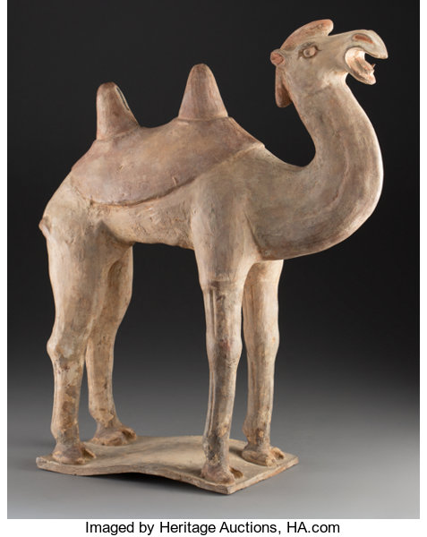 A Large Chinese Painted Pottery Bactrian Camel Figure, | Lot