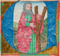 [Illuminated Manuscript]. Illuminated initial of St. Andrew. [Rhineland: circa 1400-1480]. Historiated initial on cal