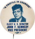 """Political:Pinback Buttons (1896-present), John F. Kennedy: """"Profile in Courage"""" 1956 DNC Vice Presidential Hopeful Pin...."""