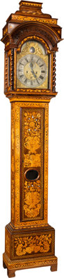 A Simon Lachez Walnut Veneered and Noble Wood and Mother-of-Pearl Marquetry-Inlaid Oak Tall Case Clock, Utrecht, Holl