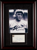 Autographs:Index Cards, 1960 Rogers Hornsby Signed Index Card Display....