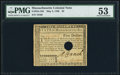 Colonial Notes:Massachusetts, Signed by Loammi Baldwin Massachusetts May 5, 1780 $5 Hole Cancel PMG About Uncirculated 53.. ...