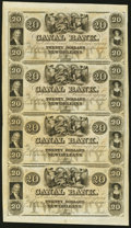 Obsoletes By State:Louisiana, New Orleans, LA- Canal Bank $20-$20-$20-$20 18__ Uncut Sheet Choice About Uncirculated.. ...