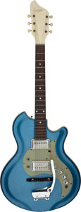Musical Instruments:Electric Guitars, Circa 1960's Supro Blue Solid Body Electric Guitar....