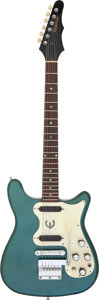 Musical Instruments:Electric Guitars, 1968 Epiphone Olympic Double Olympic Green Solid Body Electric Guitar, Serial # 000810....