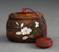 A Wood Tonkotsu Inlaid with Jade, Horn, and Mother of Pearl with Goldstone Ojime and Tsuishi Netsuke Marks: (two c